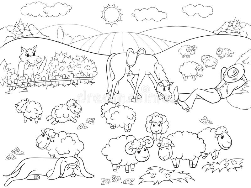 Pasture sheep with a shepherd and dog coloring for children cartoon vector illustration. Zentangle style. Black and white vector illustration