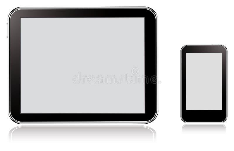 Pastylka i telefon komórkowy ilustracja wektor