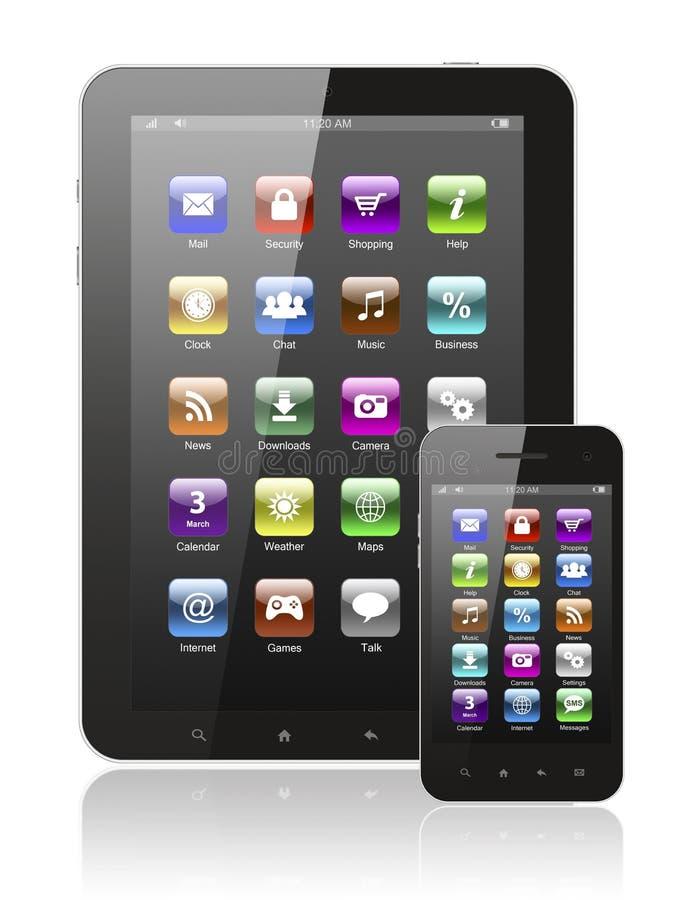Pastylka komputer osobisty i mądrze telefon z ikonami royalty ilustracja