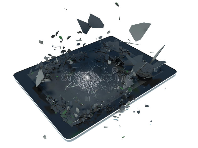 Pastylka komputer osobisty z łamanym ekranem ilustracji