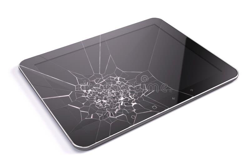 Pastylka komputer osobisty z łamanym ekranem ilustracja wektor