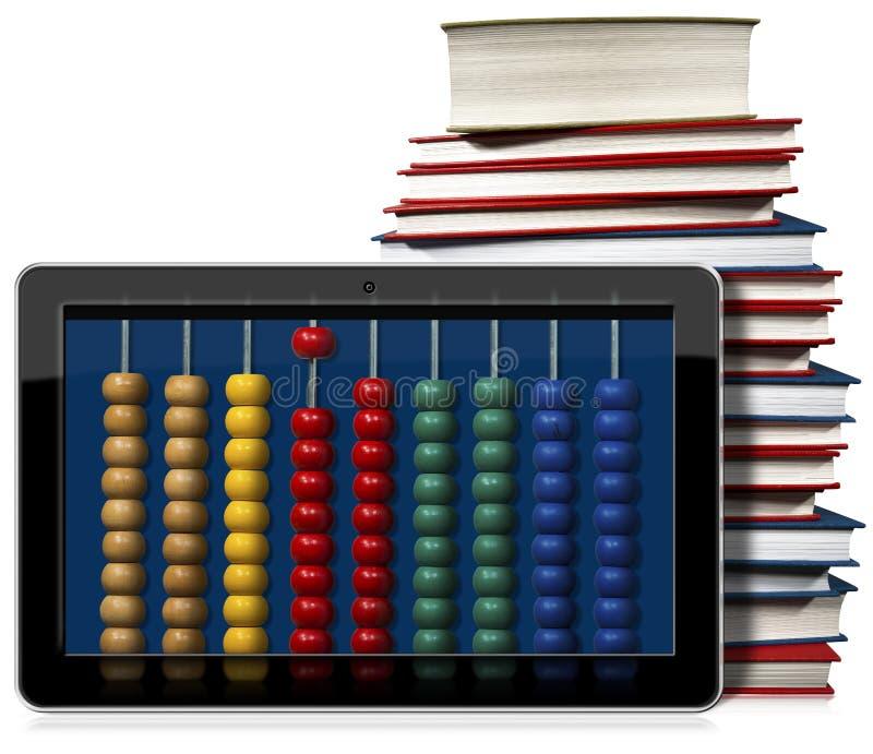 Pastylka komputer osobisty z Kolorowym abakusem i książkami royalty ilustracja