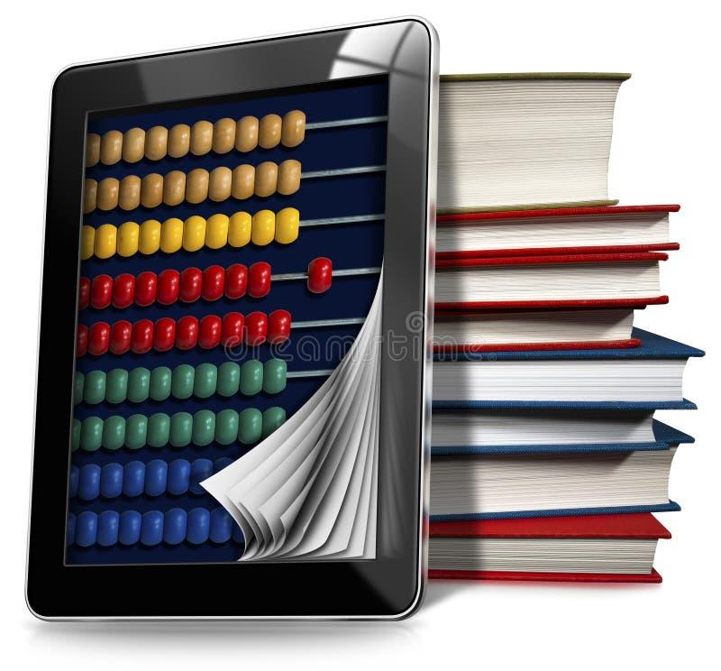 Pastylka komputer osobisty z Kolorowym abakusem i książkami ilustracja wektor