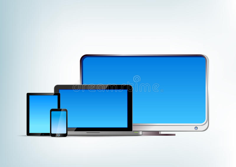 Pastylka komputer osobisty z laptopem, smartphone, tv wektoru przód royalty ilustracja
