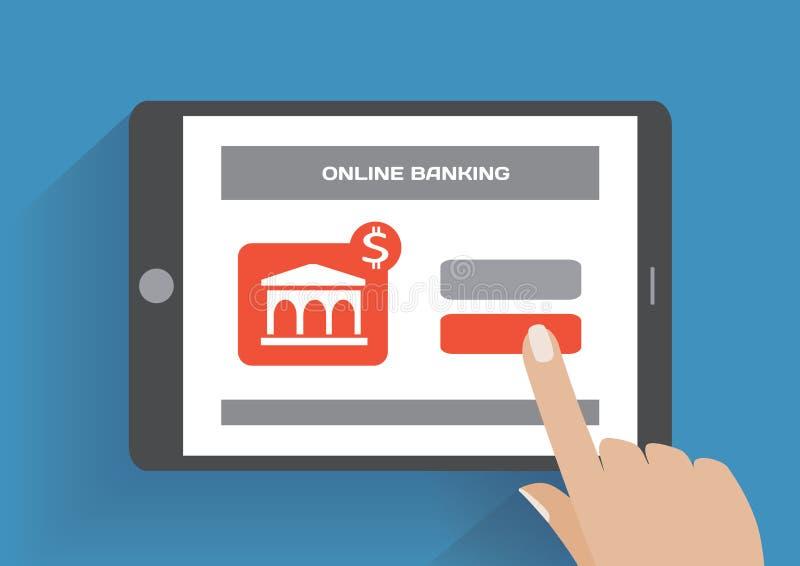 Pastylka komputer osobisty z online bankowości ikoną na ekranie ilustracja wektor