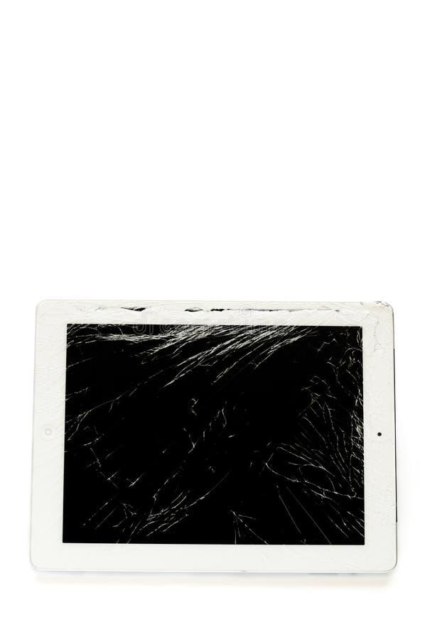 Pastylka komputer z łamanym szkło ekranem zdjęcia stock