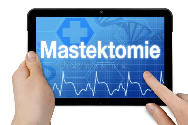 Pastylka komputer z ekranem sensorowym i niemiecki słowo dla mastectomy zdjęcia royalty free