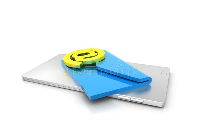 Pastylka komputer z emailem ilustracji