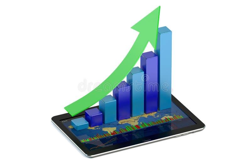 Pastylka komputer z finanse i statystykami ilustracji