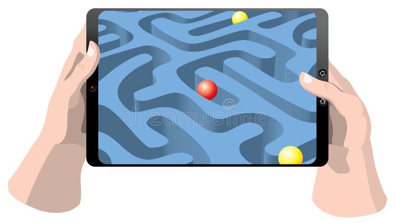 Pastylka komputer z grze ilustracji