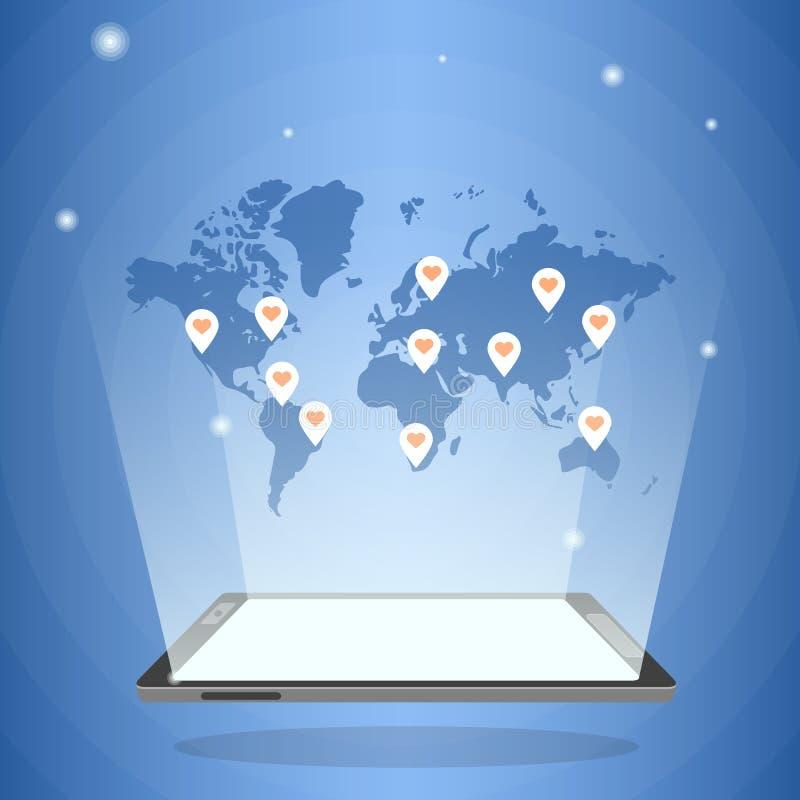 Pastylka komputer z holograficzną światową mapą w swój świetle ilustracja wektor