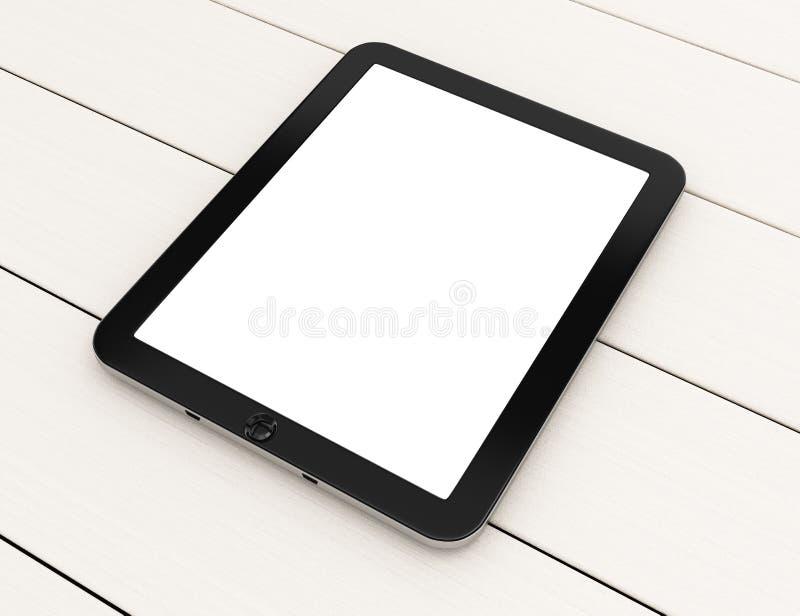 Pastylka komputer z pustym ekranem na białym drewnianym stole ilustracji