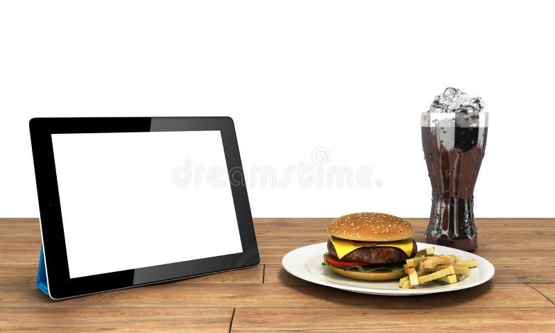 Pastylka komputer z pustym ekranem na drewnianym stole z h ilustracja wektor
