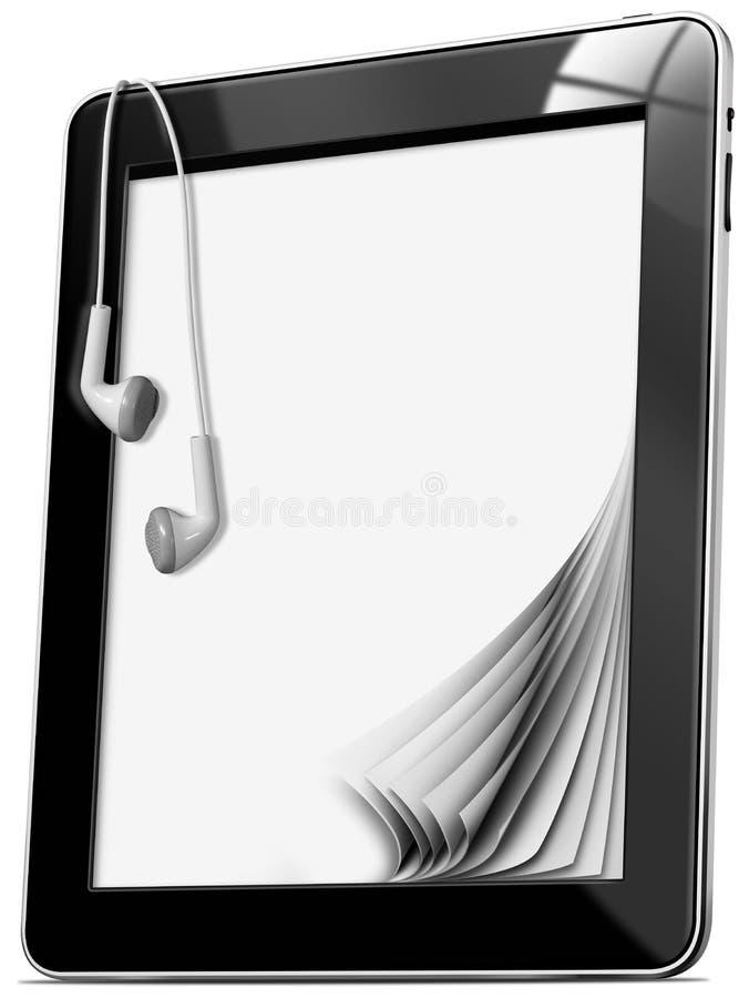 Pastylka komputer z słuchawkami ilustracja wektor