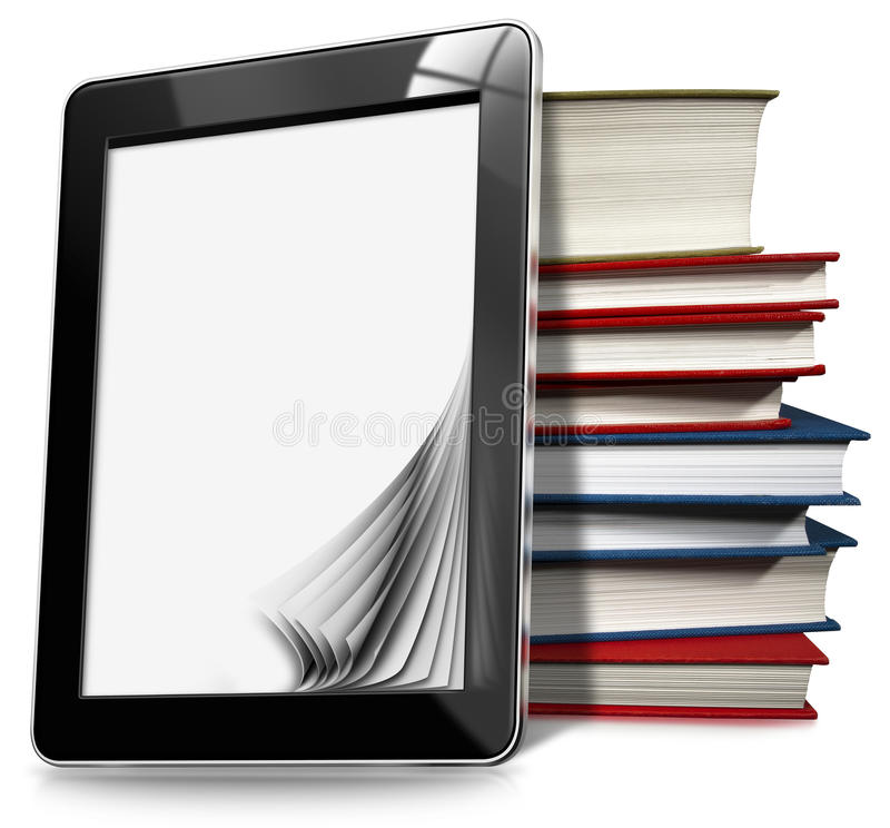 Pastylka komputer z stronami i książkami ilustracji