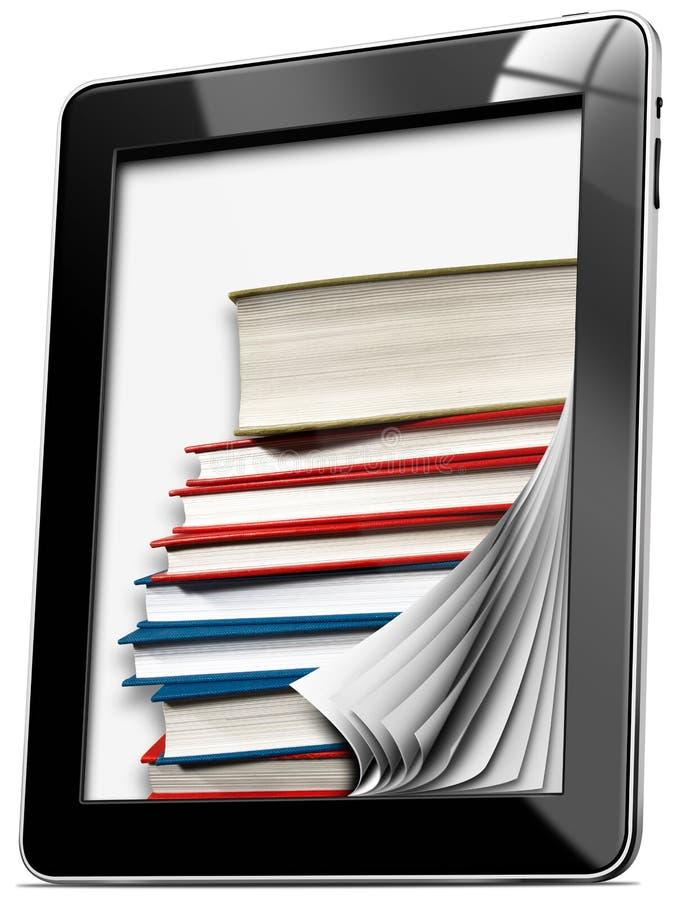 Pastylka komputer z stronami i książkami ilustracja wektor