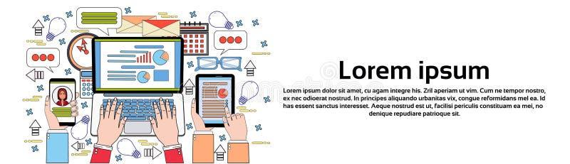 Pastylka laptop I Mądrze telefonu finanse mapy ręk Pracuje Na dane raporcie ludzie biznesu, statystyki dokumenty Biurowi ilustracji