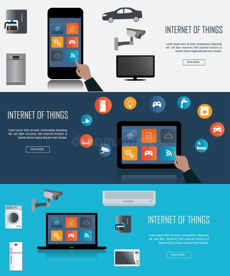 Pastylka, laptop, Smartphone z internetem rzeczy ikony ilustracji