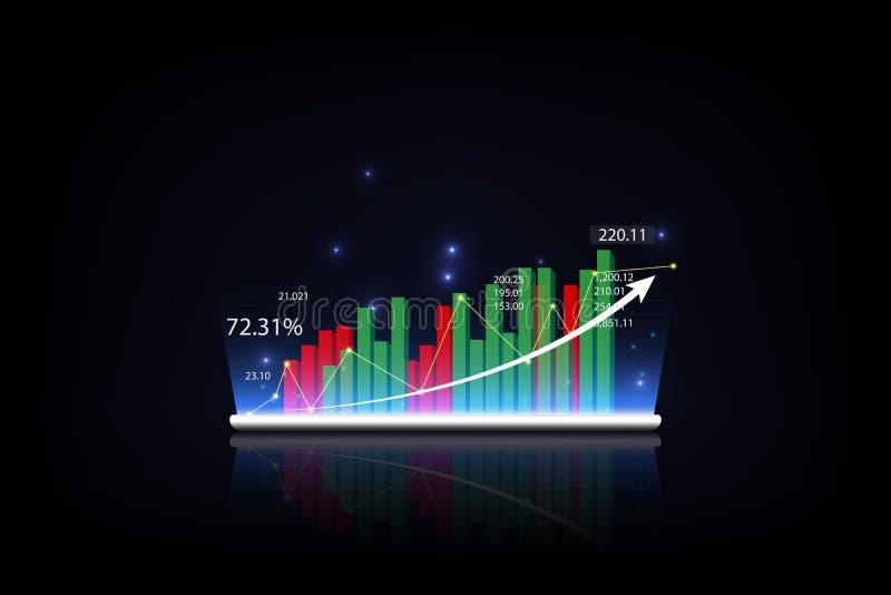 Pastylka pokazuje narastającego wirtualnego hologram statystyki, wykres i mapa z strzałą na w górę ciemnego tła, monety zestrzela ilustracja wektor