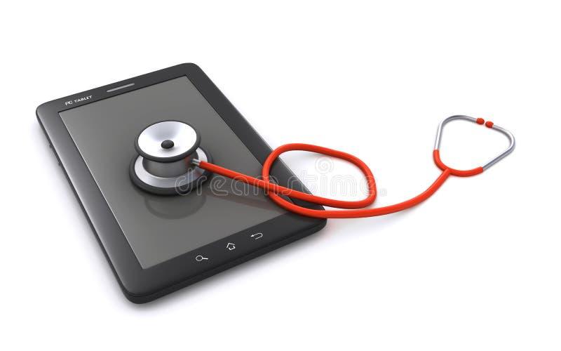 Pastylka stetoskop i komputer osobisty ilustracja wektor