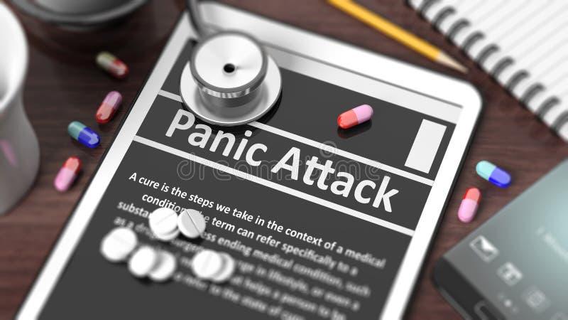 Pastylka z atakiem paniki na ekranie ilustracja wektor