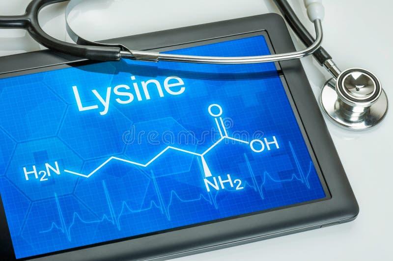 Pastylka z chemiczną formułą Lysine obrazy royalty free
