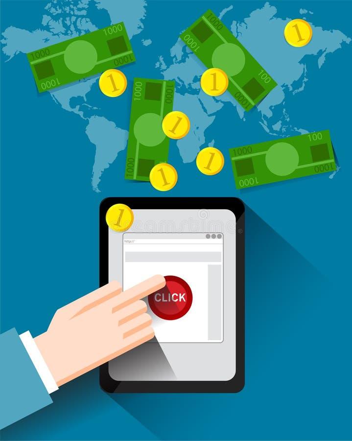 Pastylka z ręką, internet inwestycje, zyski, monety i notatki, ilustracji