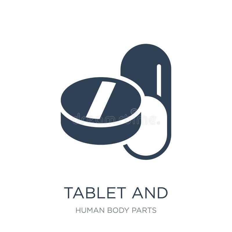 pastylki i kapsuły lekarstw ikona w modnym projekcie projektuje pastylki i kapsuły lekarstw ikona odizolowywająca na białym tle ilustracja wektor