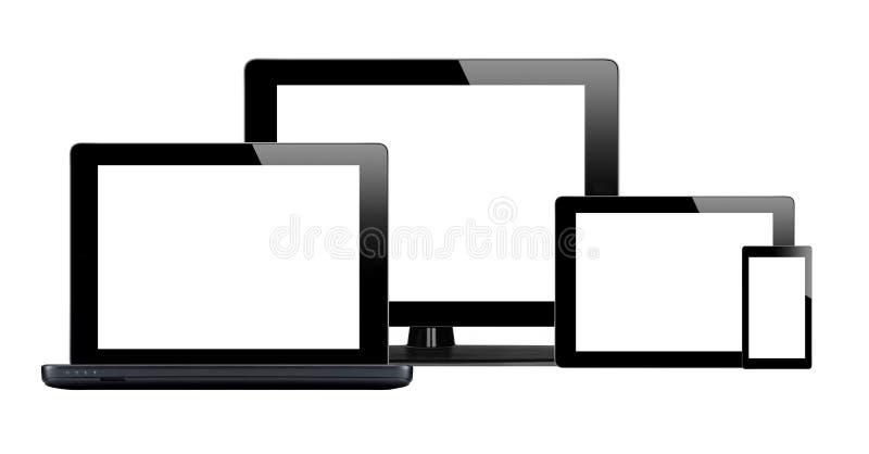 Pastylki komputer osobisty, telefon komórkowy i komputer, ilustracja wektor