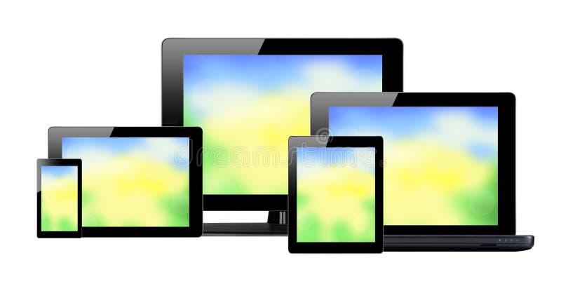 Pastylki komputer osobisty, telefon komórkowy i komputer z jaskrawymi ekranami, ilustracja wektor