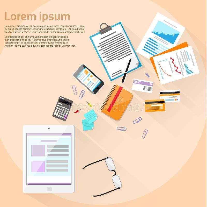 Pastylki Komputerowego miejsca pracy biurka Drewniany finanse ilustracja wektor