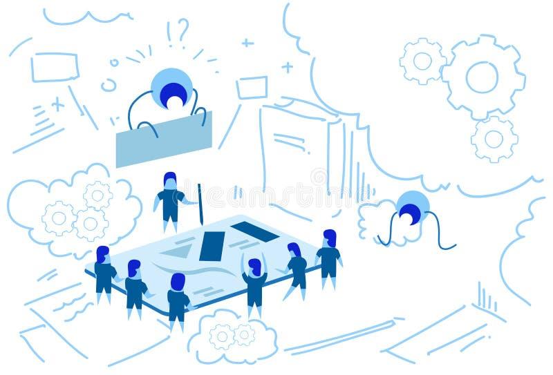 Pastylki strategii brainstorming pracy zespołowej sukcesu pojęcia nakreślenia grupowego doodle horyzontalnego parawanowi planisty royalty ilustracja