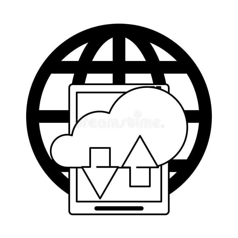 Pastylki technologii narzędzia mobilna kreskówka w czarny i biały ilustracji