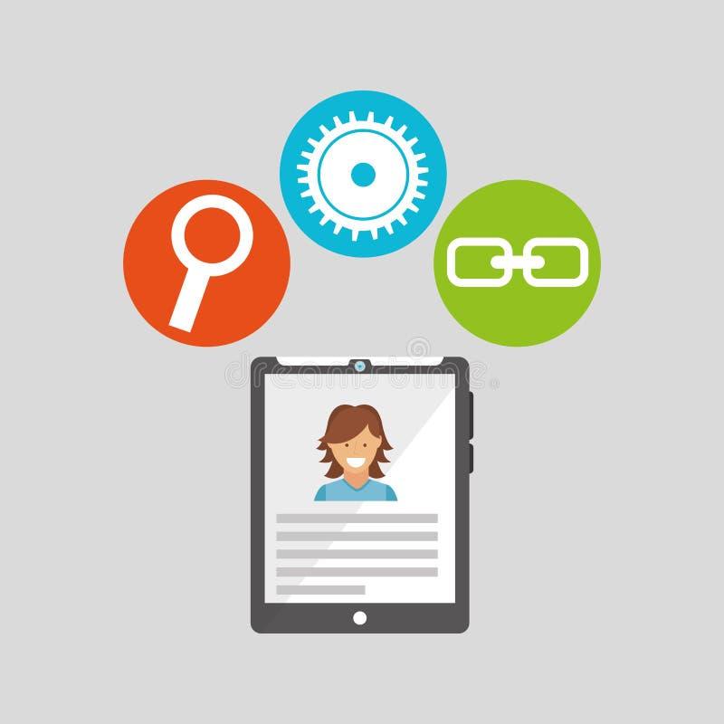 Pastylki technologii ogólnospołeczny medialny pojęcie ilustracji