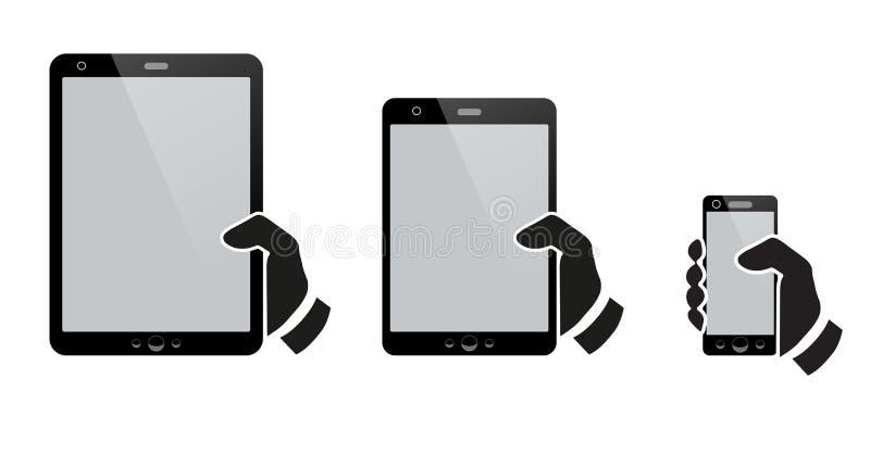 Ręki trzyma pastylkę z odosobnionym ekranem ilustracja wektor
