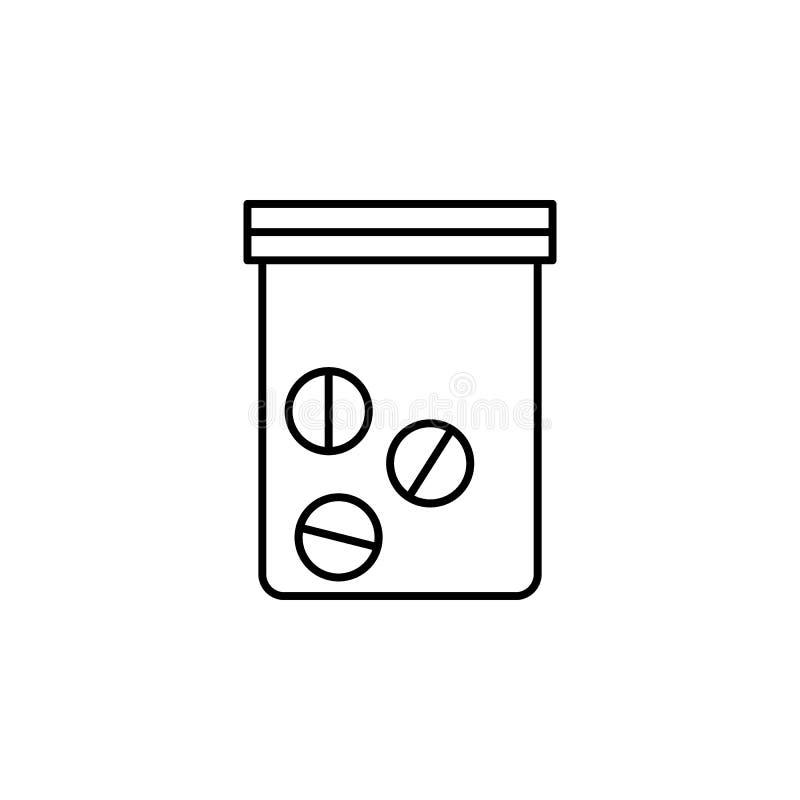 pastylki w pakunek ikonie Element przestępstwa, kary ikona dla mobilnych apps i Cienieje kreskowe pastylki w packag royalty ilustracja