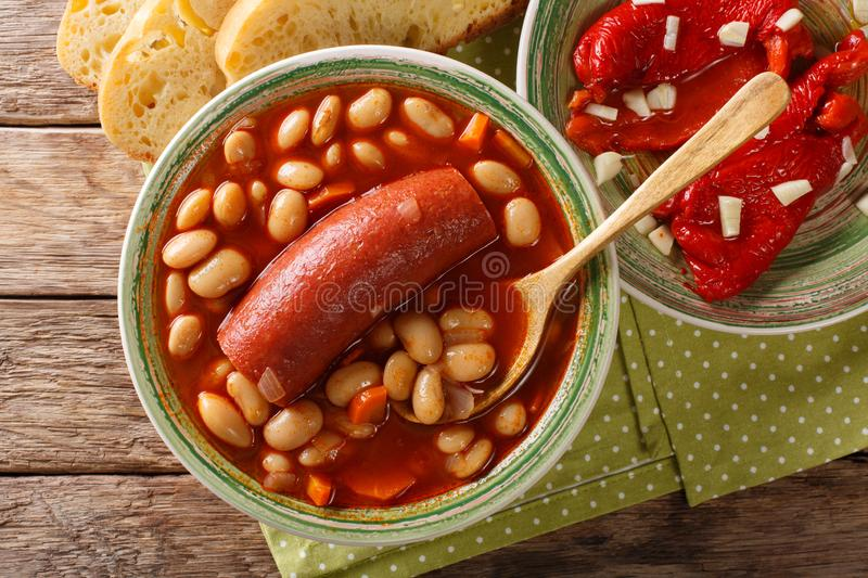 Pasulj grah bean soup with sausage is served with bread and be royalty free stock photos