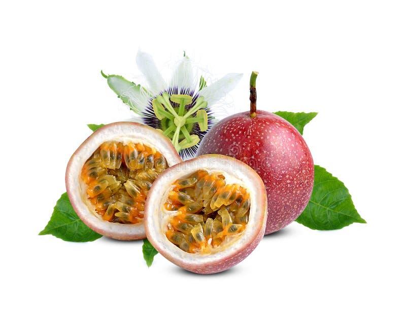 Pasyjna owoc z zielonym liściem odizolowywającym na białym tle fotografia royalty free