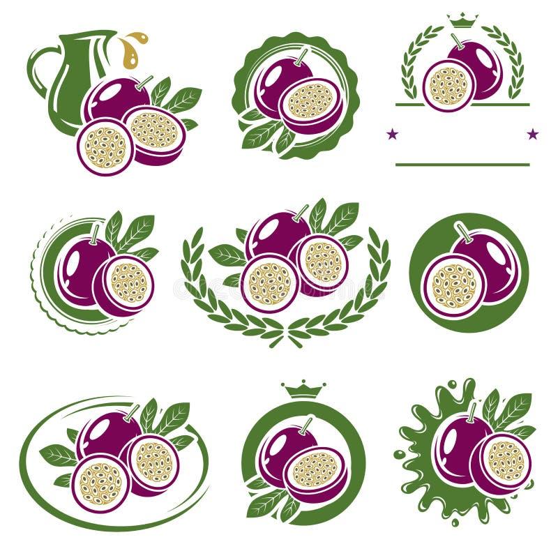 Pasyjnej owoc etykietki i elementy ustawiający wektor royalty ilustracja