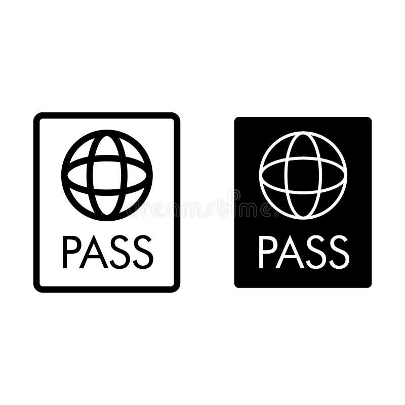 Paszport linia i glif ikona Dokument wektorowa ilustracja odizolowywająca na bielu Tożsamościowy konturu stylu projekt ilustracji