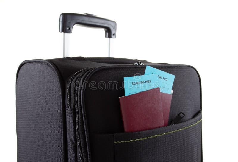 Paszport na torbie, urlopowy podróży walizki pojęcie, bagaż obrazy royalty free