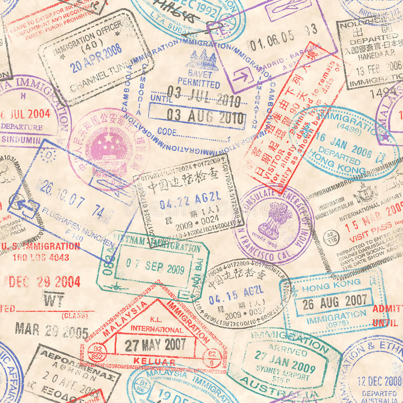 Paszport Stempluje Bezszwową teksturę ilustracja wektor
