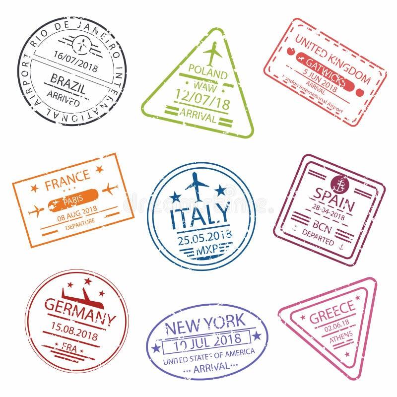 Paszport wiza lub znaczek podpisujemy dla wejścia różni kraje Europa Lotnisko Międzynarodowe symbole ilustracja wektor