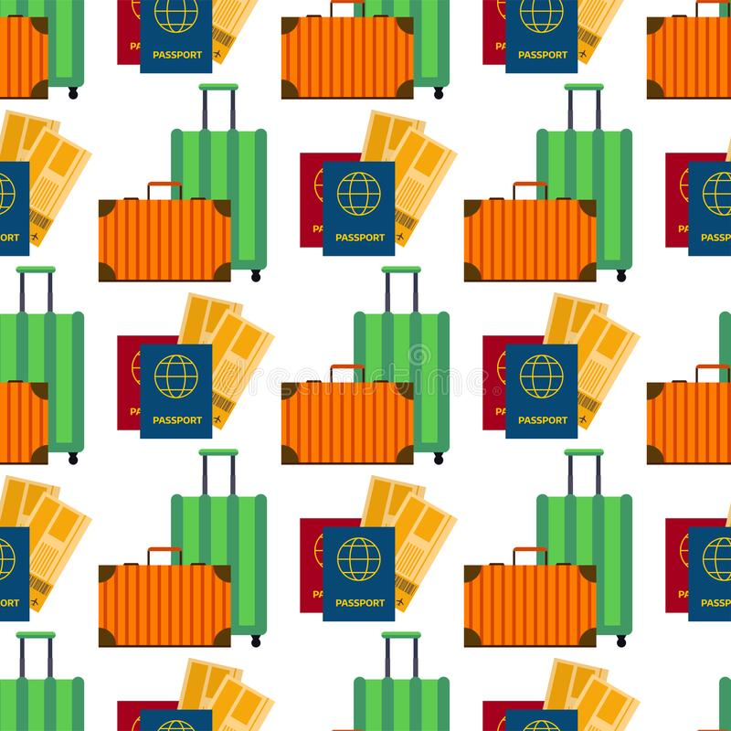 Paszport z bilet podróży powietrznej walizki projekta obywatelstwa podróżnika płaskiego międzynarodowego dokumentu bezszwowym wzo ilustracji