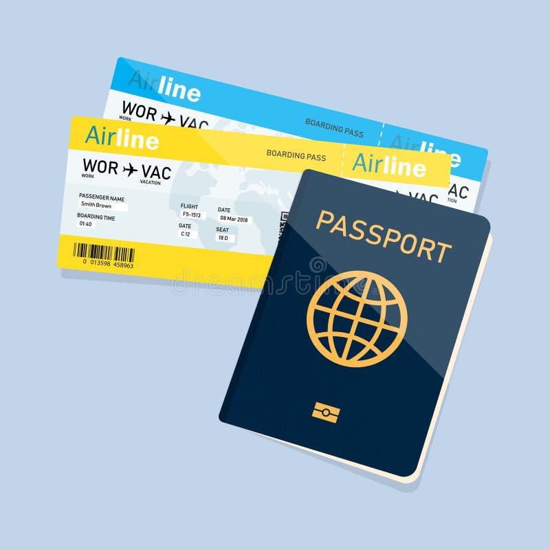 Paszport z biletami, paszport i abordaż przepustki biletów ikona, royalty ilustracja