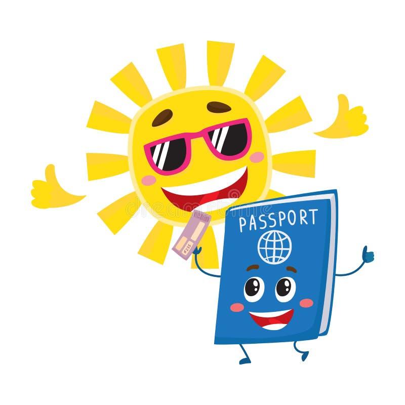 Paszporta i słońca charaktery symbolizuje wakacje, wakacje w egzotycznych krajach ilustracji