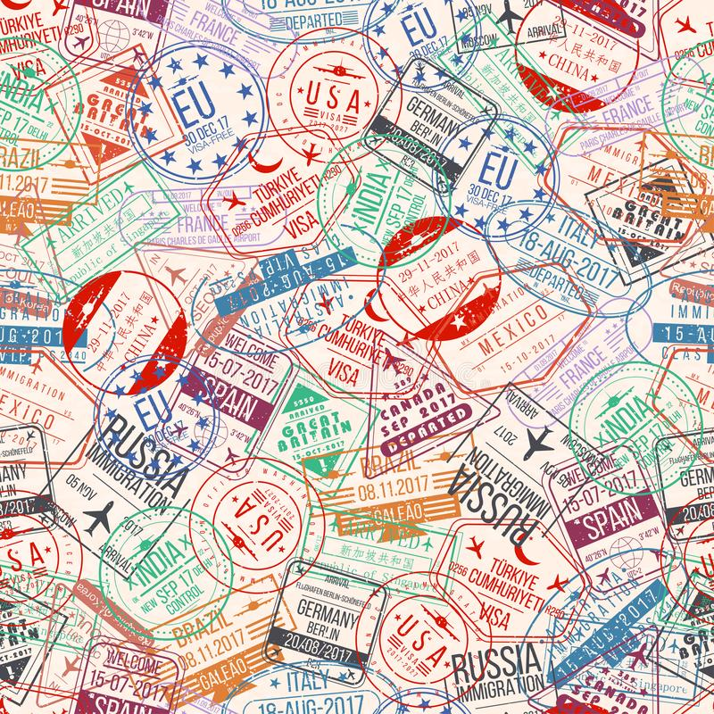 Paszporta stemplowy bezszwowy wzór Międzynarodowi przyjazdy szyldowa guma, wizy lotniska znaczki i watermarks, royalty ilustracja
