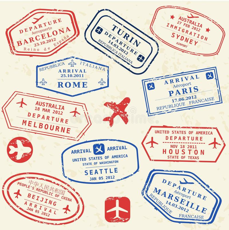 Paszporta znaczka set ilustracji