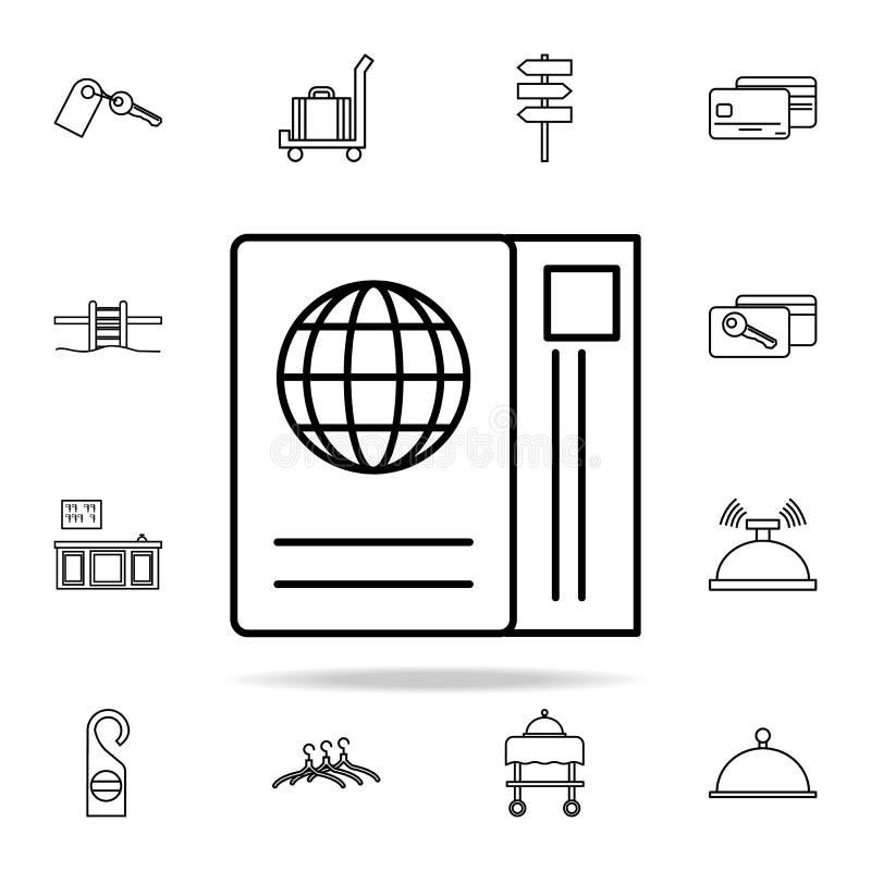 paszportowa i hotelowa biletowa ikona Hotelowy ikony ogólnoludzki ustawiający dla sieci i wiszącej ozdoby ilustracji