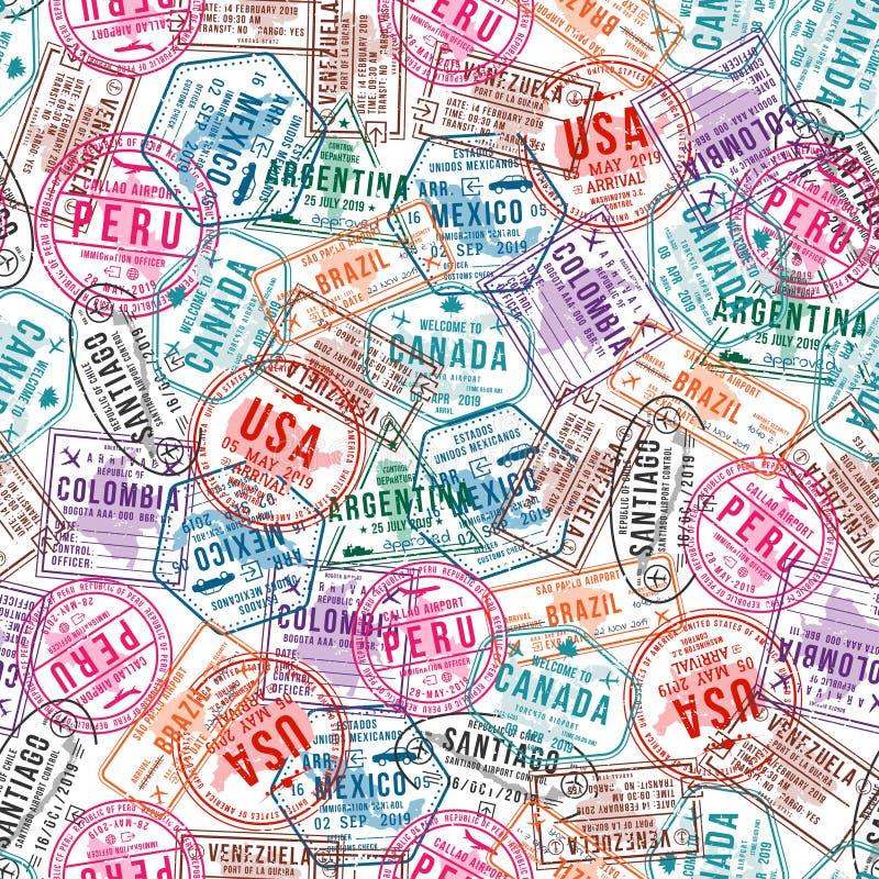 Paszportowi wiza znaczki, bezszwowy wzór Międzynarodowego i imigracyjnego biura pieczątki Podróżować i turystyka royalty ilustracja